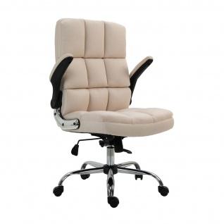Bürostuhl HWC-J21, Chefsessel Drehstuhl Schreibtischstuhl, höhenverstellbar ~ Stoff/Textil creme-beige - Vorschau 3