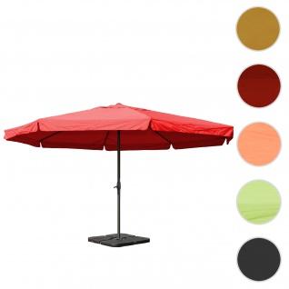Sonnenschirm Meran Pro, Gastronomie Marktschirm mit Volant Ø 5m Polyester/Alu 28kg ~ bordeaux mit Ständer