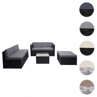 Poly-Rattan-Garnitur HWC-D24, Garten-/Lounge-Set Sofa ~ anthrazit, Polster grau