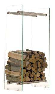 Kaminholzständer CP317, Feuerholzregal, Klarglas ~ 35x40x100cm