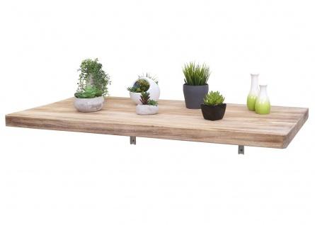 Wandtisch HWC-H48, Wandklapptisch Wandregal Tisch, klappbar Massiv-Holz ~ 120x60cm naturfarben - Vorschau 3