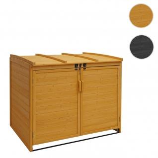 XL 2er-/4er-Mülltonnenverkleidung HWC-H75, Mülltonnenbox, erweiterbar 116x66x92cm Holz FSC-zertifiziert ~ braun