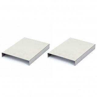 Armlehnen-Ablage HWC-C67, Sofa-Butler Tablett, Edelstahl 25cm Länge ~ 18cm, 2 Stück