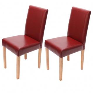 2x Esszimmerstuhl Stuhl Küchenstuhl Littau ~ Kunstleder, rot, helle Beine