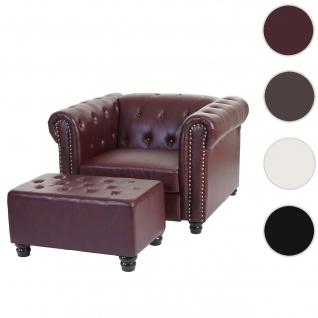 Luxus Sessel Loungesessel Relaxsessel Chesterfield Kunstleder ~ runde Füße, rot-braun mit Ottomane