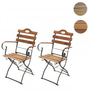 2x Biergartenstuhl HWC-J40, Klappstuhl Gartenstuhl, Gastronomie-Qualität Akazie FSC-zertifiziert ~ naturfarben