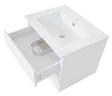 Waschbecken + Unterschrank HWC-B19, Waschbecken Waschtisch Badezimmer, hochglanz 50x60cm - Vorschau 3