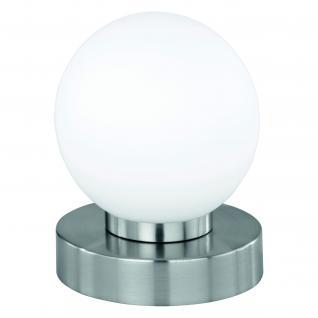 Tischleuchte Dimmer ~ Nickel matt, Glas opal weiß