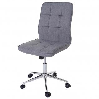 Bürostuhl Newcastle, Drehstuhl Arbeitshocker Schreibtischstuhl, Textil grau