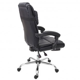 Relax-Bürostuhl HWC-G23, Schreibtischstuhl Drehstuhl Chefsessel, Fußstütze Kunstleder schwarz - Vorschau 4