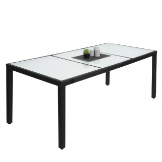 Poly-Rattan Esstisch HWC-F49, Esszimmertisch Gartentisch Tisch, 190x90cm anthrazit