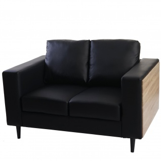 2er Sofa Nancy, Couch Kunstleder, schwarz