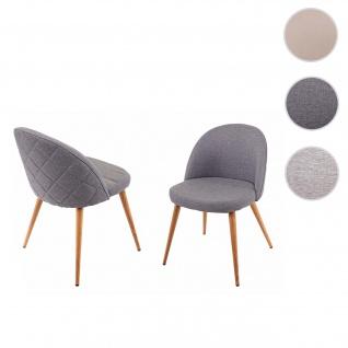2x Esszimmerstuhl HWC-D53, Stuhl Küchenstuhl, Retro 50er Jahre Design, Stoff/Textil ~ dunkelgrau