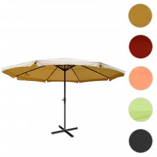Sonnenschirm Meran Pro, Gastronomie Marktschirm mit Volant Ø 5m Polyester/Alu 28kg ~ creme ohne Ständer