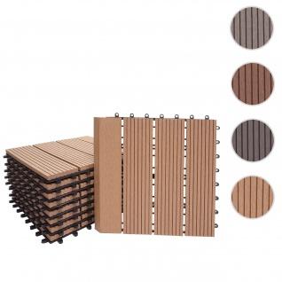 WPC Bodenfliese Rhone + Abschluss, Holzoptik Balkon/Terrasse, 11x je 30x30cm = 1qm Premium ~ teak linear senkrecht