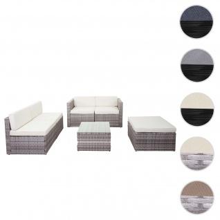 Poly-Rattan-Garnitur HWC-D24, Garten-/Lounge-Set Sofa ~ grau, Polster creme