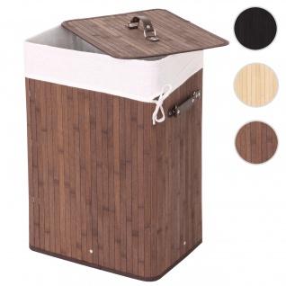 Wäschekorb HWC-C21, Laundry Wäschebox Wäschesammler Wäschebehälter Wäschetonne, Bambus 61x43x32cm 70l ~ braun