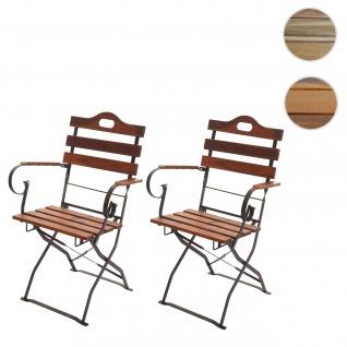 2x Biergartenstuhl HWC-J40, Klappstuhl Gartenstuhl, Gastronomie-Qualität Akazie FSC-zertifiziert ~ braun