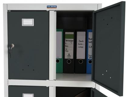 Schließfach Valberg T335, Wertfachschrank Doppel-Spind, Metall 183x58x50cm anthrazit - Vorschau 5