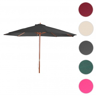 Sonnenschirm Florida, Gartenschirm Marktschirm, Ø 3m Polyester/Holz ~ anthrazit