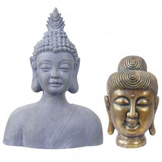 2er Set Deko Figur Buddha 38cm+60cm, Polyresin Skulptur, In-/Outdoor