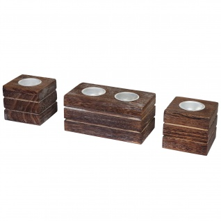 2-1-1 Set Teelichthalter, Teelichtständer, Shabby-Look Vintage ~ braun