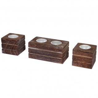 2-1-1 Set Teelichthalter, Teelichtständer, Shabby-Look Vintage braun