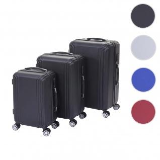 3er Set Koffer HWC-D54a, Reisekoffer Hartschalenkoffer Trolley Handgepäck, Höhe 72/60/50cm ~ schwarz, Premium