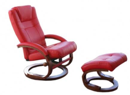 Fernsehsessel Relaxsessel Sessel Pescatori, Kunstleder, mit Hocker rot