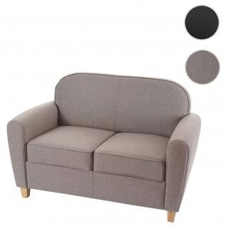 2er Sofa Malmö T377, Couch, Retro grau, Textil