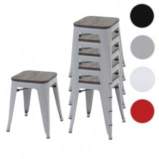 6x Hocker HWC-A73 inkl. Holz-Sitzfläche, Metallhocker Sitzhocker, Metall Industriedesign stapelbar ~ grau