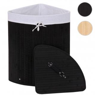 Eckwäschekorb HWC-C21, Laundry Wäschebox Wäschesammler Wäschebehälter, Bambus 61x48x35cm 50l ~ schwarz