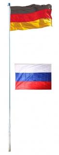 Fahnenmast 4m Flagge Deutschland + Fahne Russland, 90x150cm