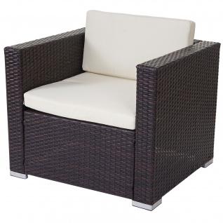 Modulares Poly-Rattan Sofa ROM Basic, Sessel Loungesessel, Alu braun-meliert, Kissen creme