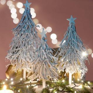 3er Set Dekobäume, S+M+L Weihnachtsbaum Christbaum Dekotanne 60/28/12cm weiß-grau - Vorschau 5