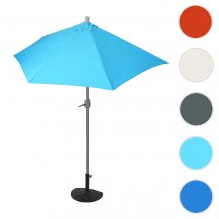 Sonnenschirm halbrund Parla, Halbschirm Balkonschirm, UV 50+ Polyester/Stahl 3kg ~ 270cm türkis mit Ständer