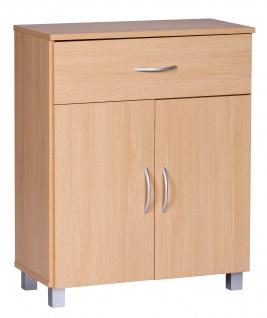 Sideboard A050 Kommode Schrank, 60 x 75 cm mit 2 Türen & 1 Schublade ~ buche