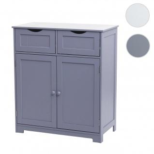 Kommode HWC-B65, Schubladenschrank Schrank, 2 Schubladen und 2 Türen 80x70x35cm ~ grau