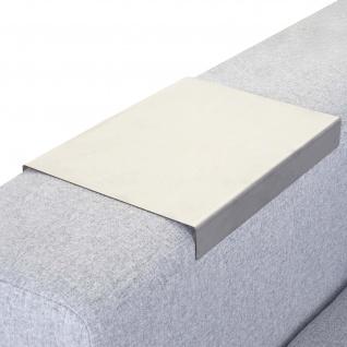 Armlehnen-Ablage HWC-C67, Sofa-Butler Tablett, Edelstahl 25cm Länge ~ 18cm, 1 Stück
