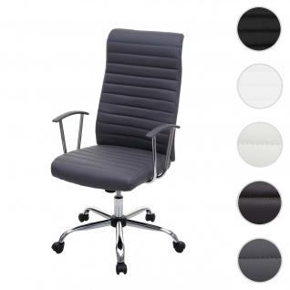 Bürostuhl Cagliari, Drehstuhl Schreibtischstuhl Chefsessel, Kunstleder ~ grau