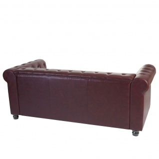 Luxus 3er Sofa Loungesofa Couch Chesterfield Kunstleder 3