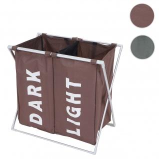Wäschesammler HWC-C36, Laundry Wäschesortierer Wäschekorb, 2 Fächer klappbar 58x59x37cm 127l ~ braun