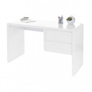 B-Ware Schreibtisch HWC-D74, Computertisch Bürotisch, hochglanz weiß 75x120x50cm