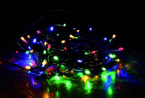 LED Lichterkette LD07, Leuchtkette, für Außen und Innen ~ Kabel grün, 200 LEDs, bunt