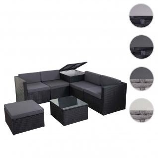 Poly-Rattan-Garnitur HWC-D21, Balkon-/Garten-/Lounge-Set Sofa Sitzgruppe, Box Staufach ~ anthrazit, Kissen dunkelgrau