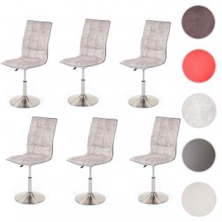 6x Esszimmerstuhl HWC-C41, Stuhl Küchenstuhl, höhenverstellbar drehbar, Fuß gebürstet, Stoff/Textil vintage grau