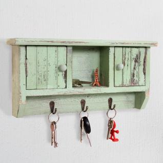 Schlüsselbrett HWC-A48, Schlüsselkasten Schlüsselboard mit Türen, Massiv-Holz ~ shabby grün - Vorschau 2
