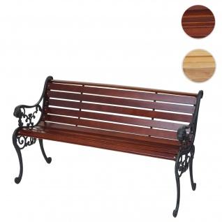 Gartenbank HWC-F98, Sitzbank Parkbank Holzbank, 3-Sitzer Gusseisen Holz 160cm 22kg braun