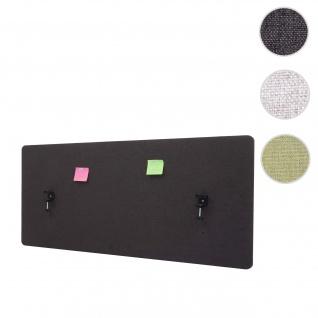 Akustik-Tischtrennwand HWC-G75, Büro-Sichtschutz Schreibtisch Pinnwand, doppelwandig Stoff/Textil ~ 140x60cm braun-grau