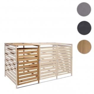 XL 1er-/2er-Mülltonnenverkleidung Erweiterung HWC-H62, Mülltonnenbox, 110x65x93cm Massiv-Holz ~ braun
